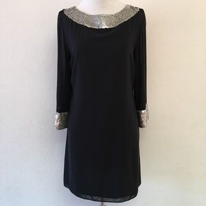 Alice + Olivia Black Sequins Long Sleeve Dress S